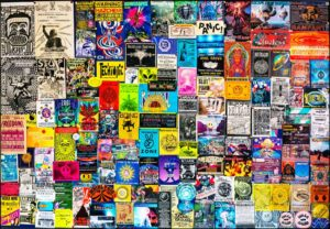 AAA Party Noticeboard Wall - party and festival flyers from the 1990s.